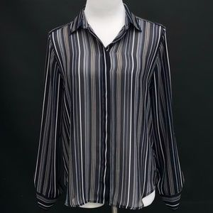 Ann Taylor Sheer Long Sleeve Striped Blouse
